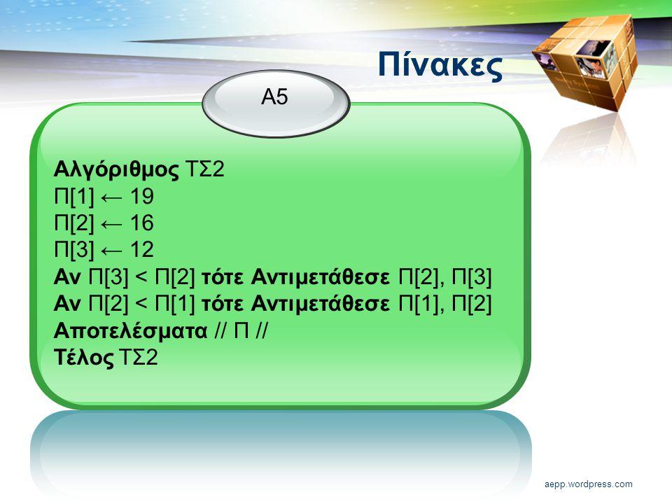 Πίνακες Α5 Αλγόριθμος ΤΣ2 Π[1] ← 19 Π[2] ← 16 Π[3] ← 12